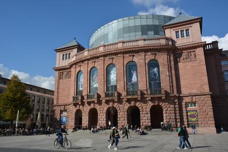 Mainz, Germany - October 9, 2015 - People walking in front of theatre Mainz
