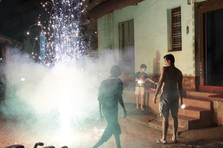 Mumbai, India - July 8, 2018 - Indian people celebrate diwali festival with fireworks Editorial