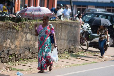 Goa, India - July 8, 2018 - Women on indian street in Canacona - Goa Redakční