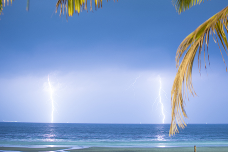 Goa, India - July 8, 2018 - Tropical thunderstorm on beach of goa
