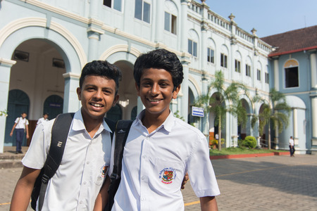 Mangalore, India - July 8, 2018 - College boys from St. Aloysius High School enjoy their free time in front of the college in Manglore - India