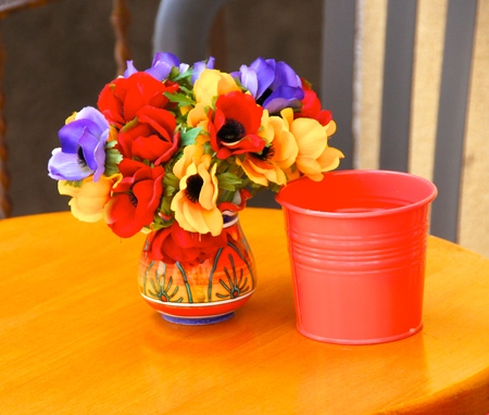 Brightly colored table setting