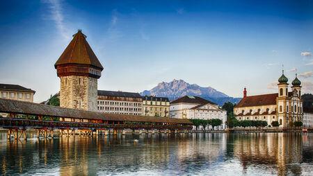 lucerne: Kapellbrucke in Lucerne, Switzerland Stock Photo