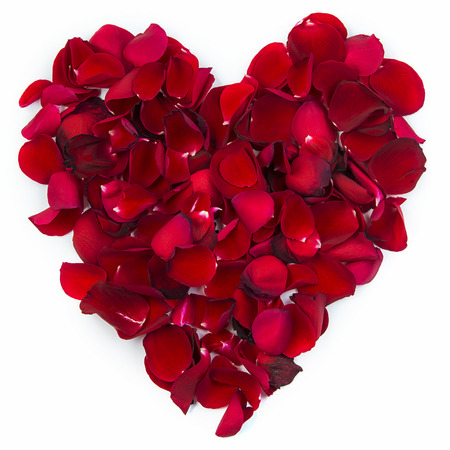 scattered in heart shaped: A red heart formed by rose leafs  Stock Photo