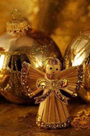 golden christmas angel Stock Photo