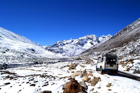 recently: A road trip to Zero Point (Yume Samdong), close to India-China border, surrounded by Himalayan mountains, with a frozen river that recently started to melt Editorial