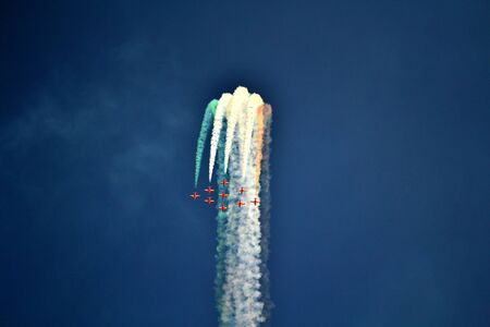 in the loop: Aerobatics team doing a loop in formation
