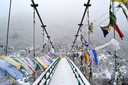 Footbridge: A footbridge covered in snow, in the Himalayas