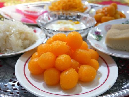 sweet thai dessert in orange color