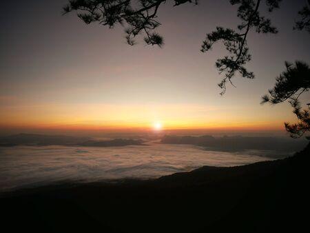 phukradueng: sunrise with dawn of  goldenlight and white mist at Phukradueng National Park of Thailand.
