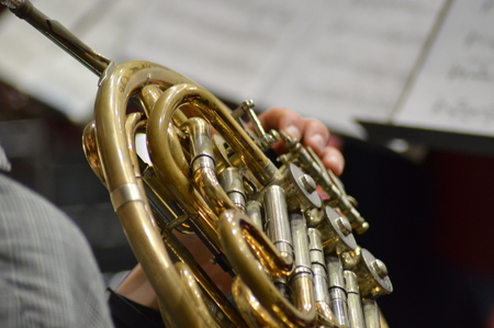 French horn with hands of musician playing on instrument