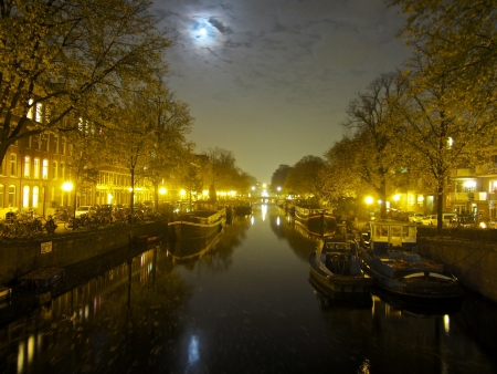 Amsterdam channel at night  photo