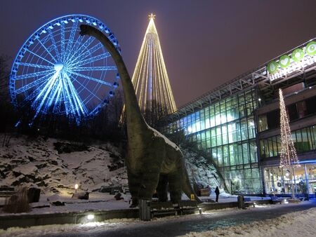 gothenburg: View of the wheel and christmas tree from Korsvagen, Gothenburg, Sweden Editorial
