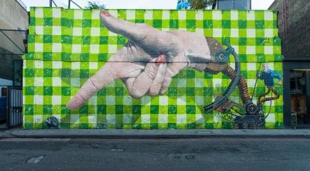 Big graffiti mural street art in Shoreditch, London