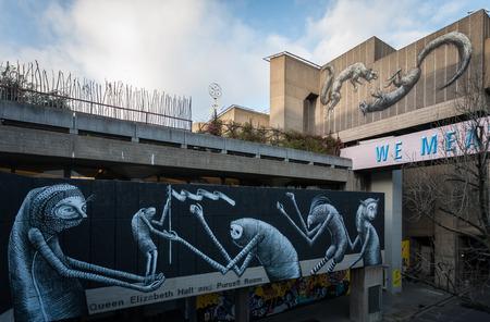 Big graffiti mural in south bank centre, London street art,