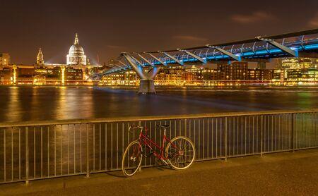 Bike at Millenium bridge and Saint Paul cathedral