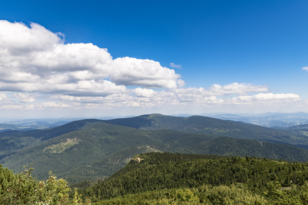 Panorama of the Beskidy Mountains Stock Photo