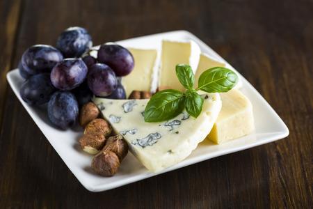 전채 - 블루 치즈, 카망베르 치즈, 포도 및 호두의 작은 접시