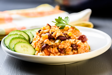 Mexican cuisine - chilli con carne with rice Stock Photo