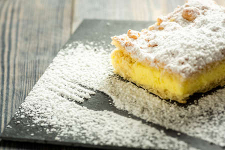 cake with pudding sprinkled with powdered sugar