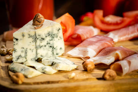 snack board - cheese, ham, tomato