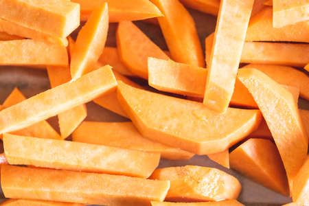 Sweet potato fries before placing in the oven