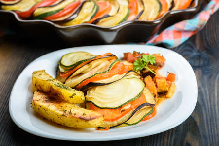 Ratatouille - a dish for vegetarians - served with baked potatoes Stock fotó