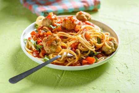 pasta with tomato sauce and cooked meatballs Stock fotó