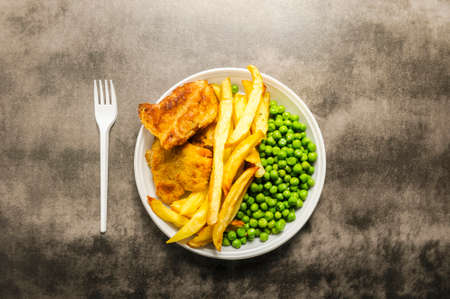 fish and chips and green peas - takeaway