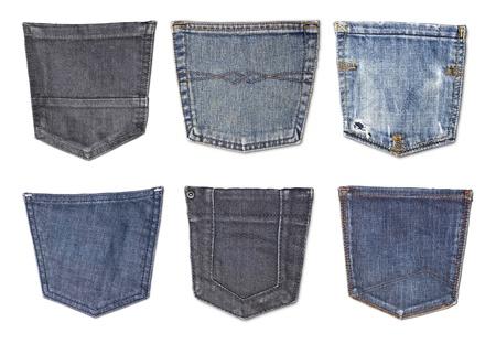 denim: Bolsas de los pantalones vaqueros aislados