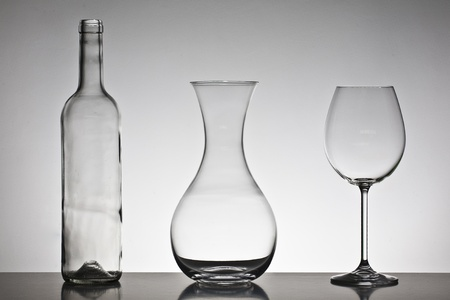 Bottle, decanter and glass