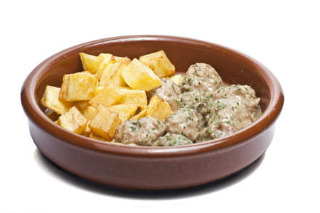 Isolated plate of meatballs