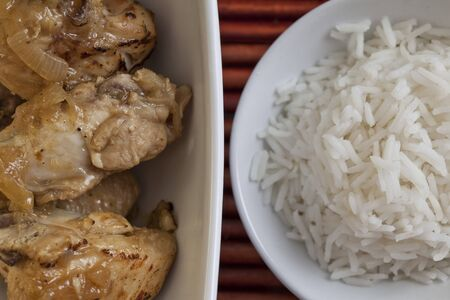 Roasted chicken with basmati rice Standard-Bild
