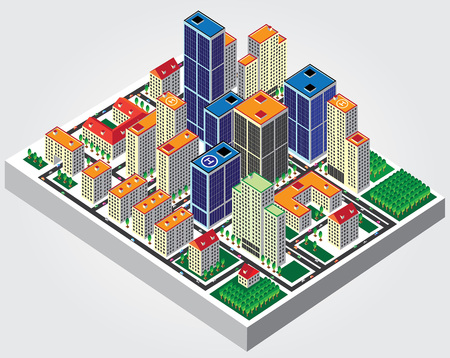 Illustration  The isometric view of the city Vector