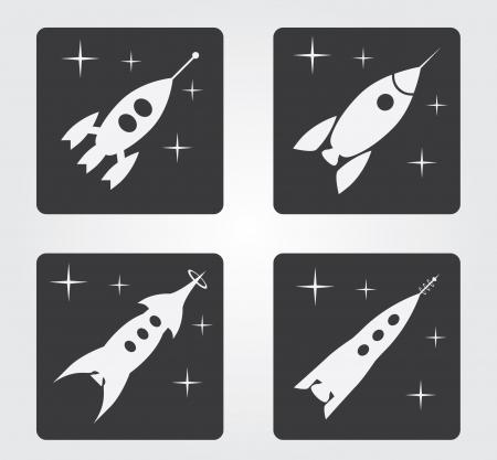 Simple rocket web icon  Vector