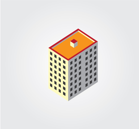Simple web icon in isometric city building Vector