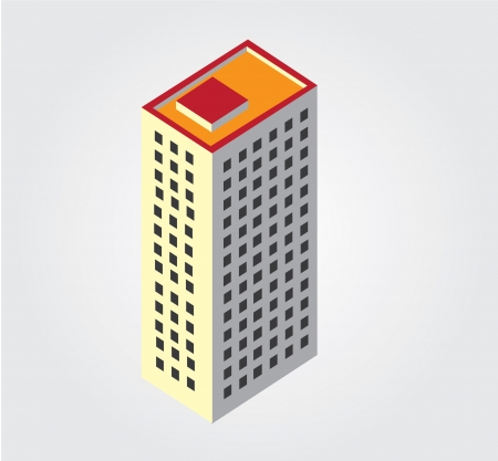 Simple web icon in isometric city building Illustration