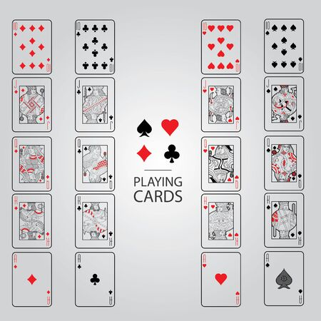 king: Set of playing cards vector: Ten, Jack, Queen, King, Ace