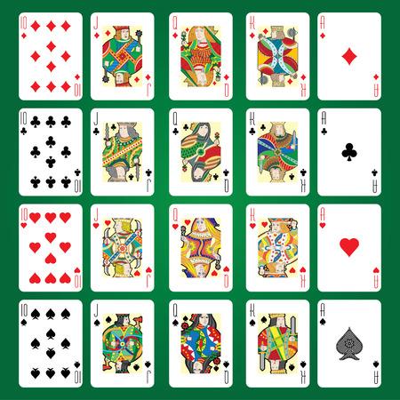 トランプのベクトルのセット: 10、ジャック、クイーン、キング、エース