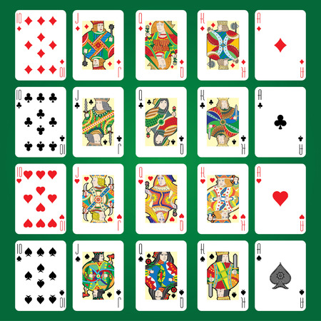 queen of diamonds: Set of playing cards vector: Ten, Jack, Queen, King, Ace