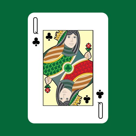 queen of clubs: Single playing cards vector: Clubs queen Illustration