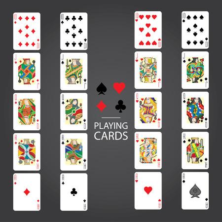 Set van speelkaarten vector: Tien, Jack, Queen, King, Ace