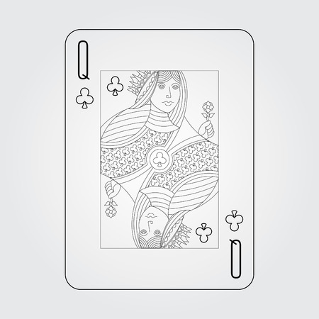 Single playing cards vector: Clubs queen Stock Illustratie