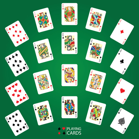 ace: Set of playing cards vector: Ten, Jack, Queen, King, Ace