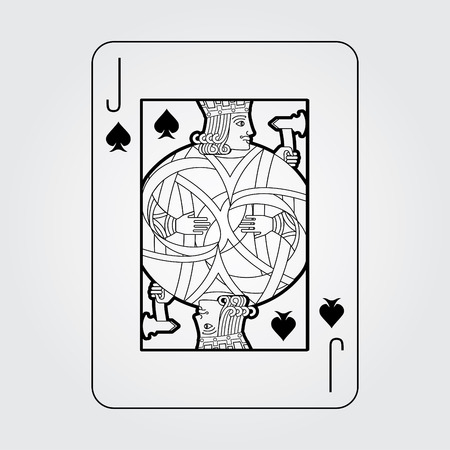 Single playing cards vector: Spades Jack Stock Illustratie