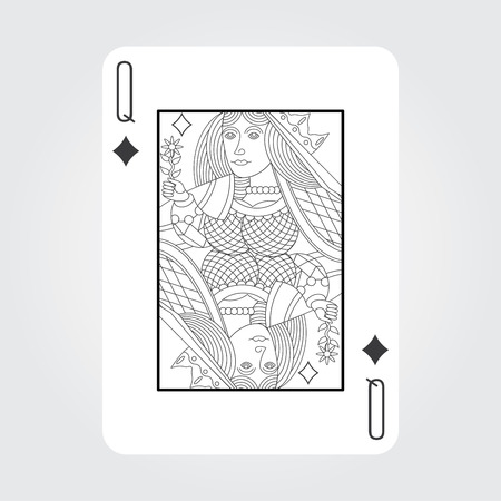 Single playing cards vector: Queen Diamonds