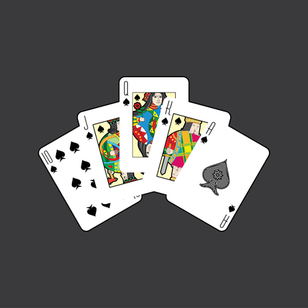 Single playing cards vector: Spades