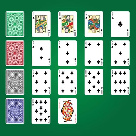 Single playing cards vector: Clubs