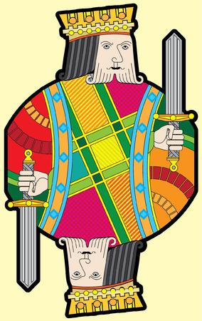 royal family: Single playing cards vector: Spades King