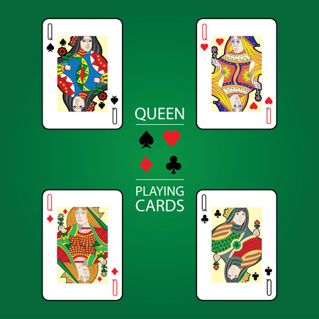 Set of playing cards vector: Queen